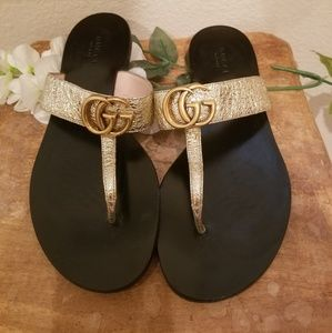 AUTHENTIC Gucci double marmont gold bling sandles